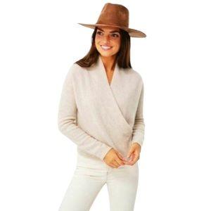 Lewit Cashmere Wrap Front V-Neck Cream Sweater